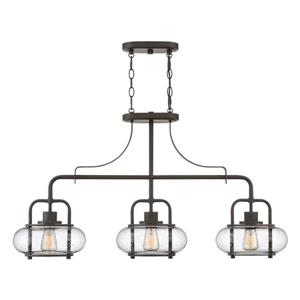 Quoizel Trilogy 10-in W 3-Light Old Bronze Kitchen Island Light with Seeded Shade