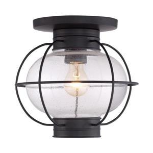 Quoizel Cooper 11-in Mystic Black 1-Light Outdoor Flush Mount Light