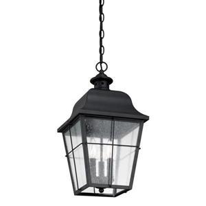 Quoizel Millhouse Mystic Black Traditional Seeded Glass Lantern Pendant