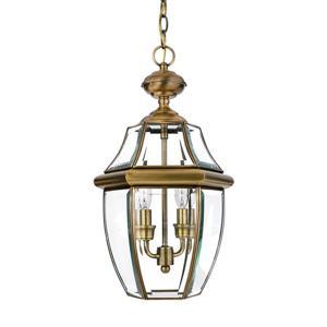 Quoizel Newbury Antique Brass Traditional Clear Glass Lantern Pendant