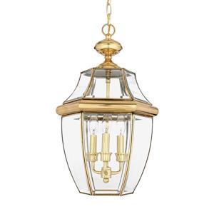 Quoizel Newbury Polished Brass Traditional Clear Glass Lantern Pendant