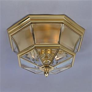 Quoizel Newbury 15-in Polished Brass 3-Light Outdoor Flush Mount Light