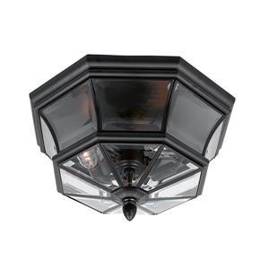 Quoizel Newbury 15.25-in Mystic Black 3-Light Outdoor Flush Mount Light