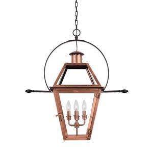 Quoizel Rue De Royal Aged Copper Traditional Clear Glass Lantern Pendant