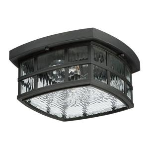 Quoizel Stonington 12-in Mystic Black 2-Light Outdoor Flush Mount Light