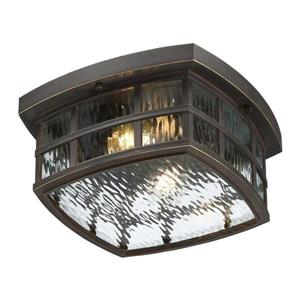 Quoizel Stonington 12-in Palladian Bronze 2-Light Outdoor Flush Mount Light
