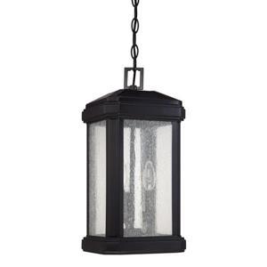 Quoizel Trumbull Mystic Black Traditional Seeded Glass Lantern Pendant