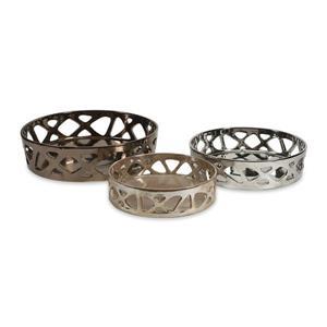 Imax Worldwide Set of 3 Geometric Cutwork Ceramic Tray