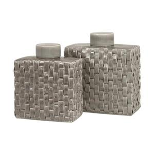 Imax Worldwide Set of 2 Sophie Woven Soft Gray Ceramic Cannisters