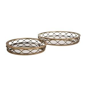 IMAX Worldwide Set of 2 Prestco Gold Mirror Tray