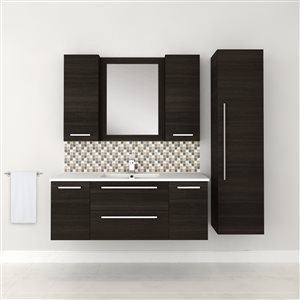 Cutler Kitchen & Bath Silhouette 46-in x 18-in White Single Hole Bathroom Vanity With Marble Top
