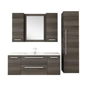 "Cutler Kitchen & Bath Silhouette Wall Mount Bathroom Vanity - 48"" x 18"" - Brown/Grey"