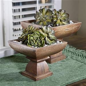 Imax Worldwide Set of 2 Julian Wood Pedestal Bowls