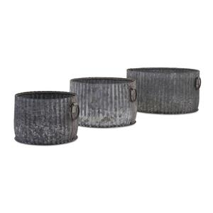 IMAX Worldwide 9.5-in x 17.5-in Maurer Gray Iron Bin (3 Pack)
