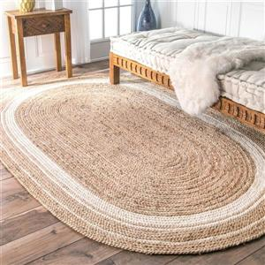 Bleached Braided Rikki Border Jute Area Rug