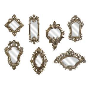 Imax Worldwide Loletta Victorian Inspired Gold Framed Irregular Wall Mirror Set of 7