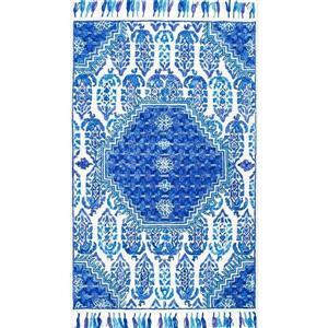 Blue Corey Paisley Tassel Area Rug