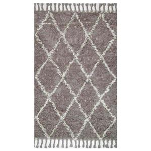 Grey Hand Knotted Fez Shag Area Rug
