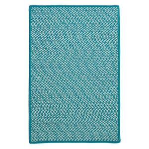 Colonial Mills Outdoor Houndstooth Tweed 6-ft Turquoise Square Area Rug
