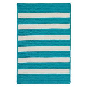 Colonial Mills Stripe It 4-ft Turquoise Square Area Rug