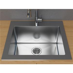 """Cantrio Koncepts Dual-Mount Kitchen Sink - Stainless Steel - 25"""" x 22"""""""