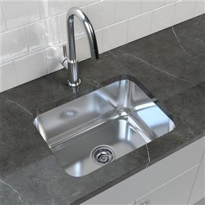 """Cantrio Koncepts Stainless Steel Undermount Kitchen Sink - 17.75"""" x 23"""""""