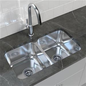 "Cantrio Koncepts Double Basin Undermount Kitchen Sink-S Steel - 32.25""x18.5"""