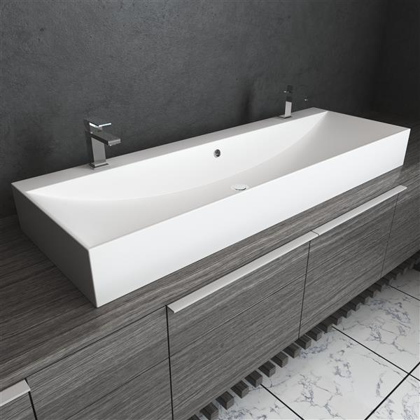 Cantrio Koncepts Double Faucet Modern, Single Basin Double Faucet Bathroom Sink