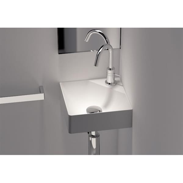 Cantrio Koncepts Wall Mounted Corner Bathroom Sink White Square 11 8 Lowe S Canada