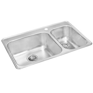 Wessan 20.87-in x 31.5-in x 8-in x 7-in Stainless Stell 1.5 Double Drop-in Sink