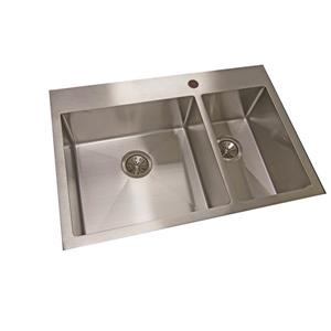 Wessan Double 1-1/2 Undermount Sink -20 7/8-in x 31-in x 8-in - Stainless