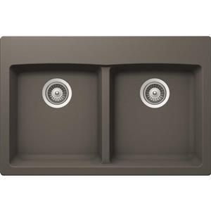 Wessan Granite Double Drop-In Sink -21 1/2-in x 31-in x 9-in- Silverstone