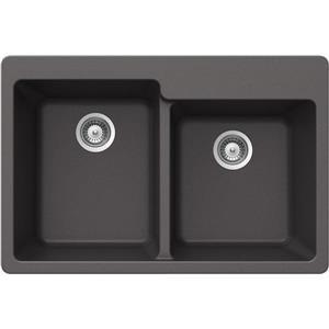 Wessan Granite Double 1-3/4 Drop-In Sink - 22-in x 33-in x 9 ½-in - Steel