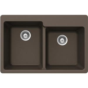 Wessan Double 1-3/4 Drop-In Sink - 22-in x 33-in x 9 1/2-in - Bronze