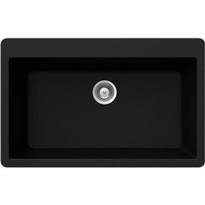 Wessan Granite Drop-In Sink - 20 7/8-in x 33-in x 9 7/16-in - Black