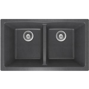 Wessan Granite Double Undermount Sink - 17 1/4-in x 31-in x 9-in - Steel