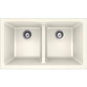 Wessan Granite Double Undermount Sink -17 1/4-in x 31-in x 9-in- Magnolia