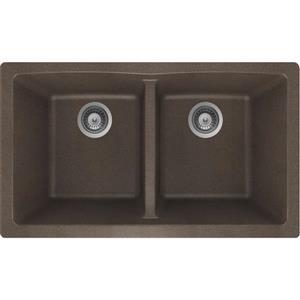 Wessan Granite Double Undermount Sink - 17 1/4-in x 31-in x 9-in - Bronze