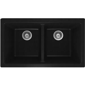 Wessan Granite Double Undermount Sink - 17 1/4-in x 31-in x 9-in - Black