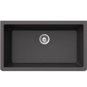 Wessan Granite Undermount Sink - 18 1/2-in x 33-in x 9 7/16-in - Steel