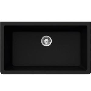 Wessan Granite Undermount Sink - 18 1/2-in x 33-in x 9 7/16-in - Black
