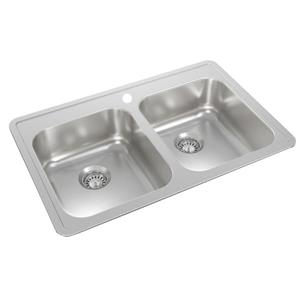 Wessan Stainless Steel Double Drop-In Kitchen Sink - 21-in x 32-in x 8-in