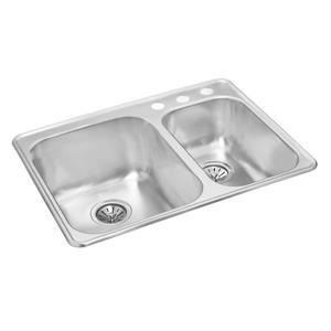 Wessan Double 1-1/2 Drop-In Kitchen Sink -20 7/8-in x 27 1/2-in 8-in & 7-in