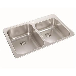 Wessan Double 1-1/2 Drop-In Kitchen Sink - 21-in x 32-in x 8-in & 7-in