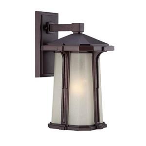 Acclaim Lighting Illuma 14-in Matte Bronze Frosted Glass Outdoor Wall Lantern
