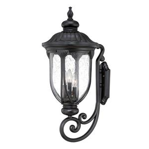 Acclaim Lighting Laurens 27.5-in Matte Black Clear Glass 3-Light Outdoor Wall Lantern
