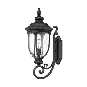 Acclaim Lighting Laurens 22.5-in Matte Black Clear Glass Upward Mount Outdoor Wall Lantern