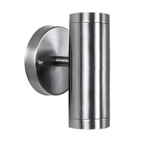 Acclaim Lighting 6.5-in Stainless Steel Clear Glass Cylinder 2-Light LED Outdoor Wall Sconce
