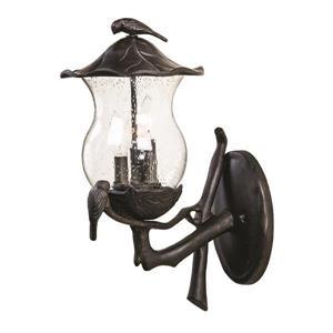 Acclaim Lighting Avian 20-in Black Aluminum Clear Seeded 3-Light Upward Outdoor Wall Lantern