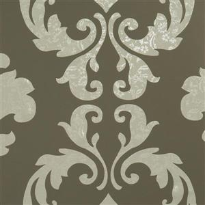 Walls Republic Taupe Metallic Floral Damask Non-Woven Unpasted Wallpaper